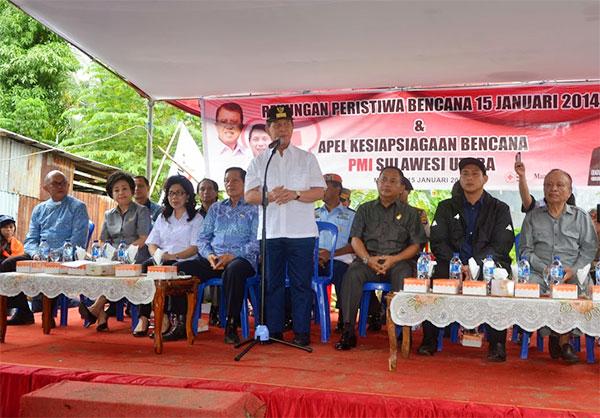 Gubernur Sulut Sinyo Harry Sarundajang Saat Memperingatin Bencana Banjir Bandang Manado
