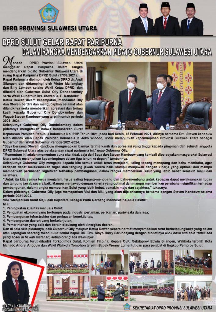 Dalam Rangka Mendengarkan Pidato Gubernur Sulut, DPRD Sulut Gelar Paripurna