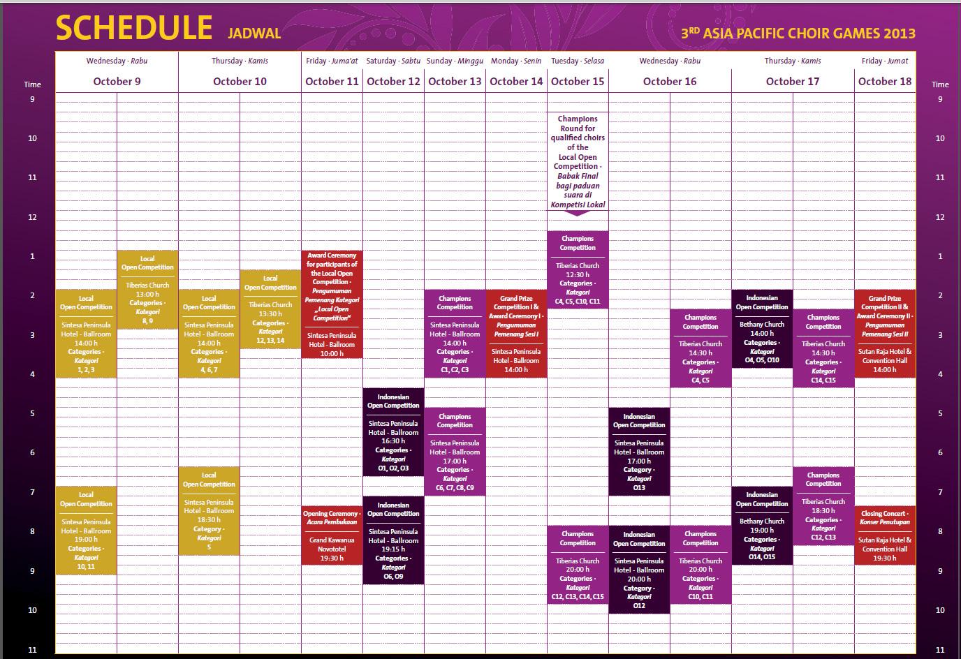 Jadwal Kegiatan ASIA PACIFIC CHOIR GAMES 2013 di Manado