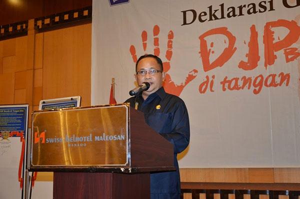 Kansil Saat Membawakan Sambutan Deklarasi Gerakan DJP Bersih di Tangan Kita