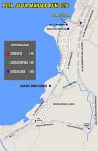 Peta Pemerintah Kota Manado melalui Dinas Pemuda dan Olahraga akan melaksanakan iven MANADO RUN 2016