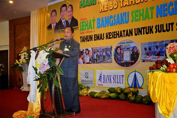 Wakil Gubernur Provinsi Sulawesi Utara Djaouhari Kansil Saat Memberikan Sambutan di HKN ke 50